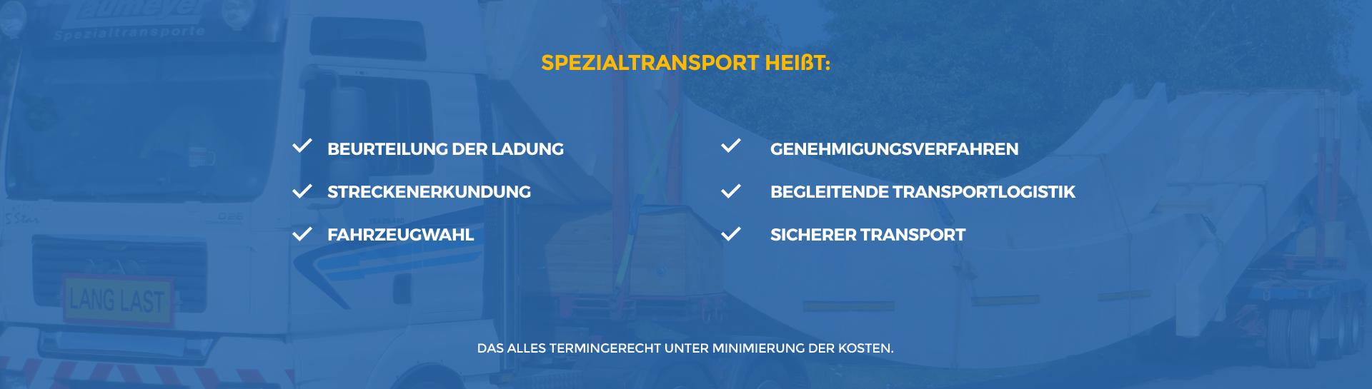 Spezialtransporte Leistungen